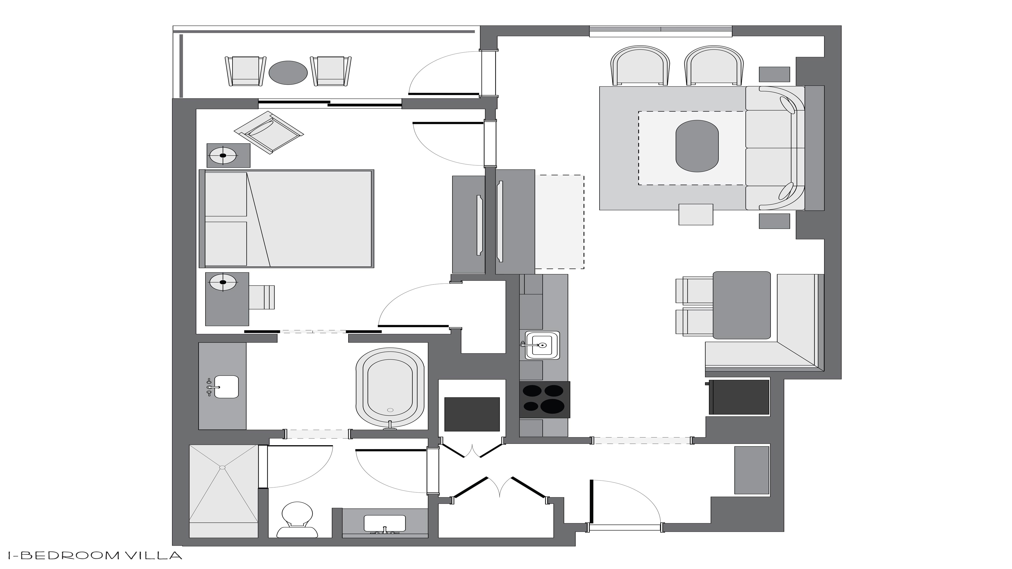 Riviera 1-Bedroom Villa Room Layout
