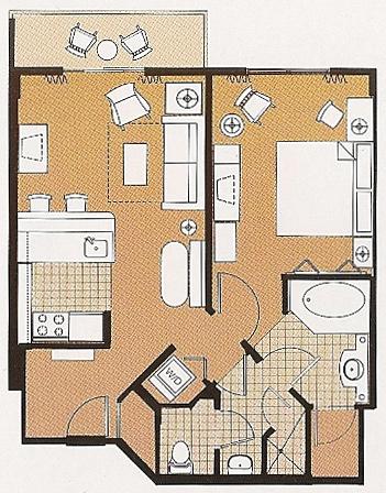 Saratoga Springs One Bedroom Villa Layout
