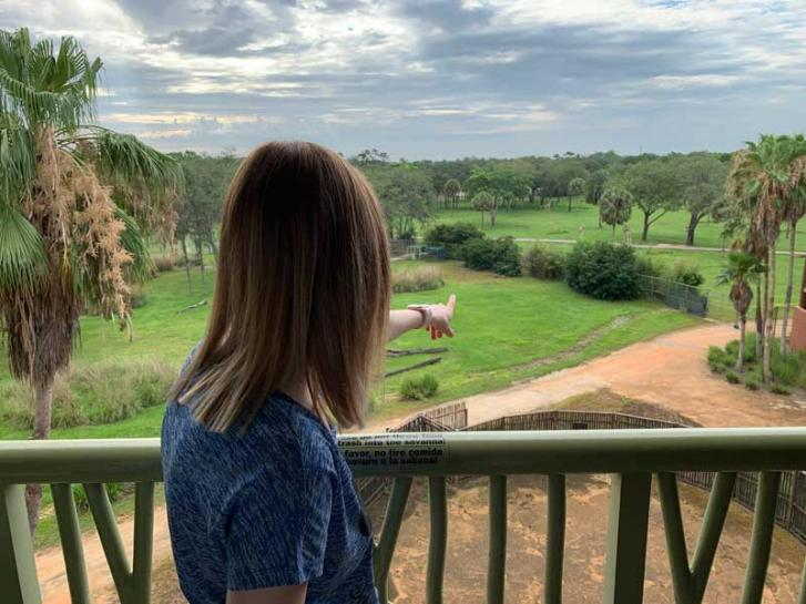 Guest Photo from Chris Dewald: Guest watching giraffes from the balcony at Animal Kingdom Villas
