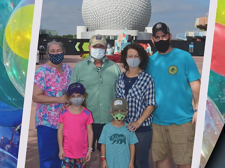 Guest Photo from Allison DeLong: Guests outside Spaceship Earth at Epcot