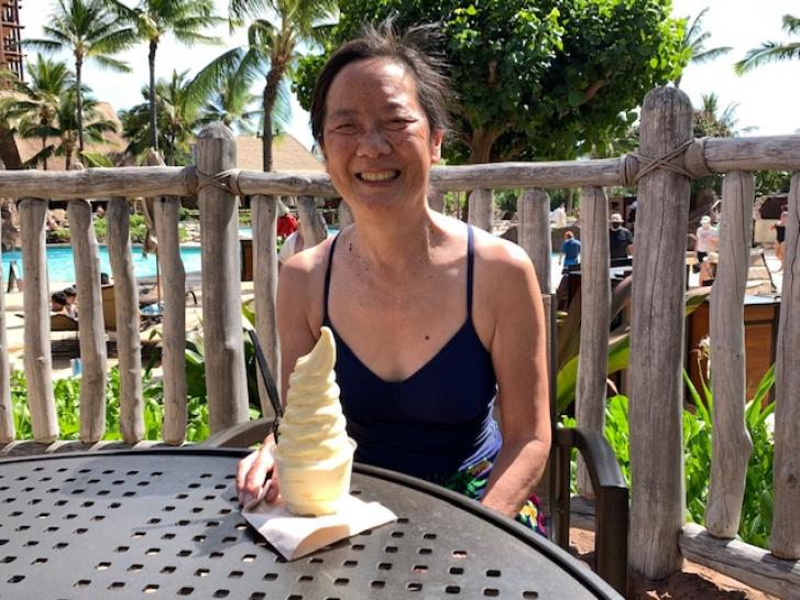 Guest Photo from Fong's: Guest with dessert at Aulani resort